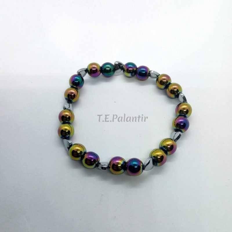 pulsera de hematite arco iris, elástica adaptable.