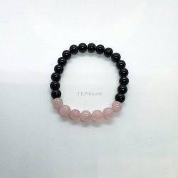 pulsera de obsidiana negra y cuarzo rosa, bola de 8 mm