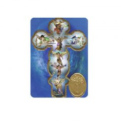 estampa de los 7 arcángeles con medalla y oración