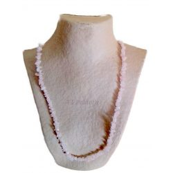 collar chip de cuarzo rosa, largo de 90 cms.