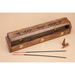 Incensario caja de madera para quemar incienso en varilla ó en cono.