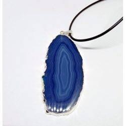 Pendentif Plaqué Agate Bleue