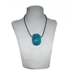 colgante escarabajo egipcio de turquenita, amuleto protección.