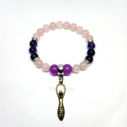 pulsera de la diosa de cuarzo rosa y amatista
