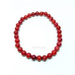 pulsera coral rojo bola 6 mm