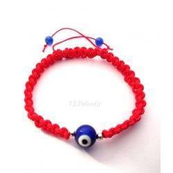 pulsera ojo turco color roja de macramé nudo plano.