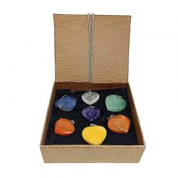 Pack 7 colgantes corazón mineral 7 chakras