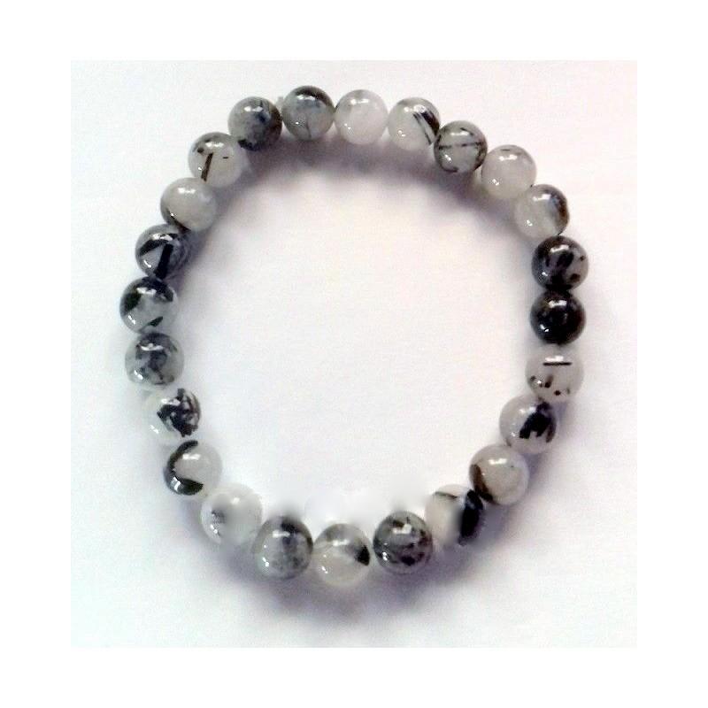 Bracelet quartz avec boule de tourmaline 8 mm